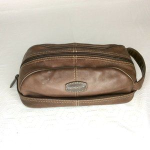 Fossil Brown Genuine Leather Full Zip Toiletry Bag